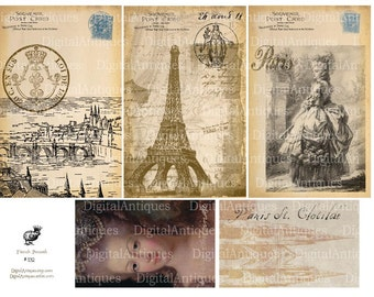 French Postcards and Tags Vintage Printable Digital Download
