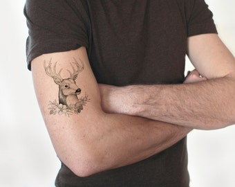 Deer tattoo / fake tattoo / Hipster Boho tattoo / manly tattoo / black white big tattoo / vintage temporary tattoo manly tattoo by temp tat