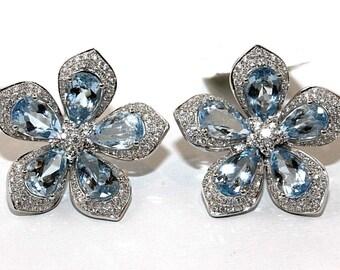 Pear Aquamarine & Diamond Cluster Star Flower Earrings 18K White Gold 8.19Ct