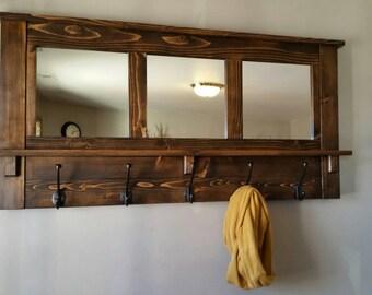 coat rack, wall coat rack, mirrored coat rack, rustic coat rack, wooden coat rack, entry way coat rack