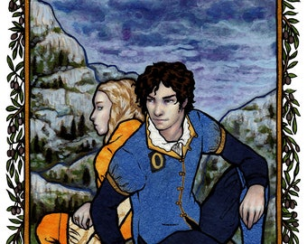 """Giclee print - man and women in Renaissance dress sitting on hill with stormy landscape  - 11"""" x 14"""""""