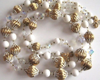 """Gorgeous Vintage Signed Vendome Double Strand White and Gold Huge Glass & Crystal Bead 22"""" Necklace"""