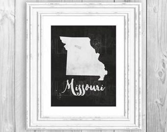 Missouri Map Print Black and White Missouri Map Silhouette Printable Missouri State Love Missouri State Map Print US Map Print Watercolor
