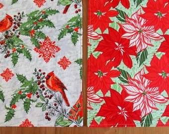 Christmas Placemats (2) with Cardinals, Holly, Poinsettia, Snowflakes in Red, Green and White, Christmas Table Decor, Moda Jingle