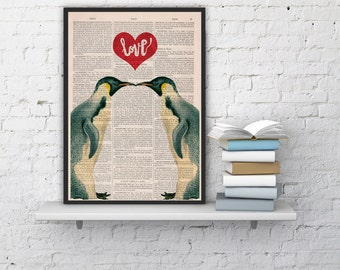 Penguins in love Penguins Red heart Printed on dictionary Book house decor, penguins poster print, wall love art ANI015