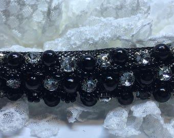 Pearl and Rhinestone Lace Headband, Baby Headband, Pearl Headband, Lace Headband, Vintage Headband, Victorian Headband