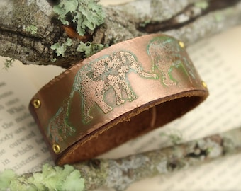 Elephant Family Copper Leather Cuff