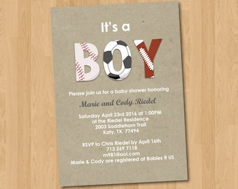 Sports BOY Baby Shower Invitation Digital Printable PDF template, instant download, Edit with Adobe Reader DIY, All Star, mvp