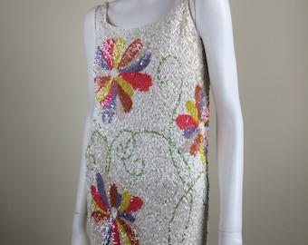 Vic & Vic hand sequined sweater tank dress 60s