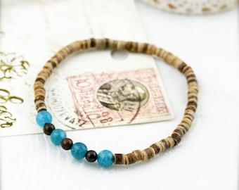 Coco sand and sea (unisex) bracelet -  aquamarine, bronzite and coco heishi