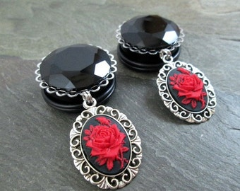 "Rose Plugs - 7/8"" 22mm - 1"" 25mm - Gothic Wedding Plugs - Red Rose Gauges - Gothic Jewelry"