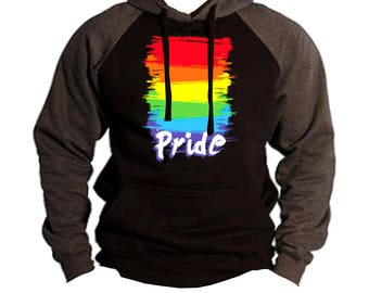 Men's Rainbow Gay Pride Raglan Hoodie Charcoal/Black  All size S-3XL