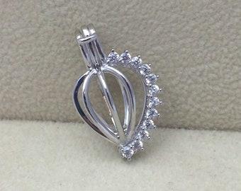 925 Sterling Silver Diamante Pearl Cage Pendant