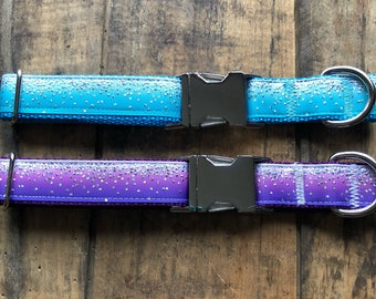 Silver Foil Dots Dog Collar, Sew Fetch Dog Collar, Girly Dog Collar, Purple Dog Collar, Silver Foil, Ombre Dog Collar