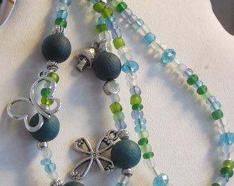 Double Strand Beaded Bracelet in Blues & Greens with charms