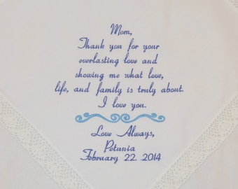 Hankerchief Gift for Mom of the bride Embroidered Personalized Wedding Handkerchief Present for Mother of the Bride Napa Embroidery