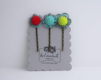 Flower Hairclip, Flower Bobby Pins, Flower Hair Pins, Hairclip Set, Flower Hairpin, Flower Barrette, Daisy Bobby Pins, Girls Hairclips