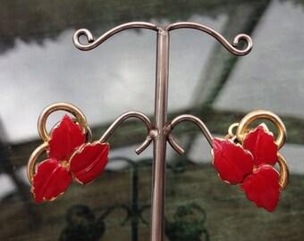 Vintage 1950's Gold Tone Red Enamel Leaf Clip On Earrings