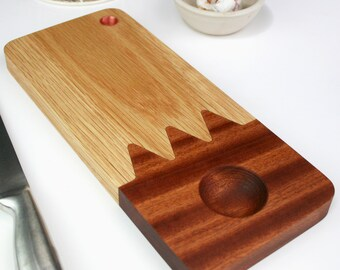Wood and Copper Platter Board - rustic serving board - Wood Board and dip bowl - modern platter board - bread and oils - made in cornwall