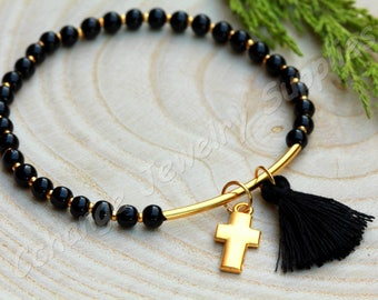Elastic Boho Bracelet with Mini Tassel, Gold Plated Tube and Cross Charm, Bohemian Jewelry Designs, Best Unique Gifts / Black