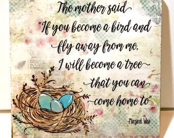 Mother's Day Gift, Mom Gift, become a bird and fly away, Nest with eggs, Painted bird's nest