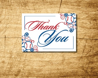 Baseball printable wedding thank you card