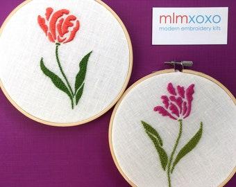 "Embroidery KIT by mlmxoxo. Tulip modern embroidery kit.  flower kit.  floral motif.  diy kit.  botanical.  6"" hoop art hand embroidery kit."