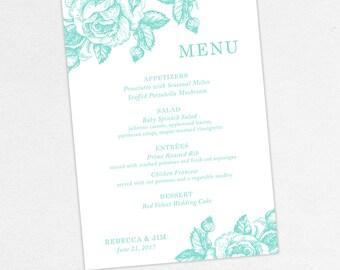 Wedding Menu Card (Rebecca) - Reception Decor, Dinner Menu, Printable, Printed, pdf, Customize, Rustic, Country, Farm, Flowers, Roses, Blue