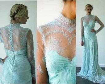 Boho style pastel lace wedding dress made to order
