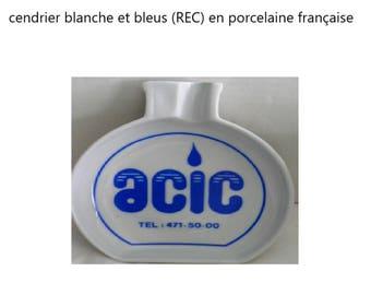 Blue and white (REC) porcelain ashtray French