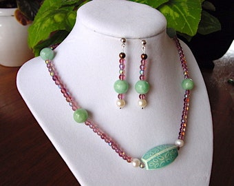 Art Glass, Amazonite and Pearl Necklace with Ceramic Focal and Earring Set