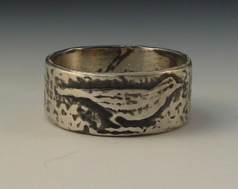 Meadowlark bird ring - handmade art jewelry