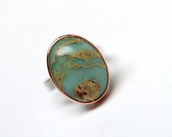 Snakeskin Jasper Silver Copper Ring Southwest Tribal Green Blue Rust Brown Pattern Natural Large Gemstone Statement Ring Boho - Snake Canyon