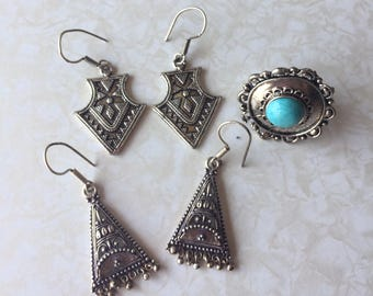 Indonesian Indian Tribal Ornate Boho Dangle Earrings and Faux Turquoise Ring