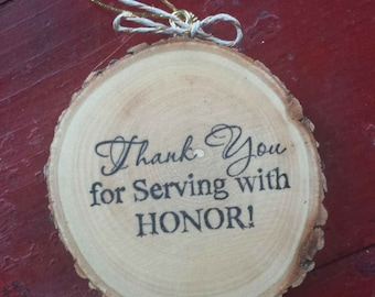 Veteran Thank You For Serving Wood Slice Ornament