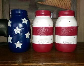American Flag (4th of July) Mason Jar Set