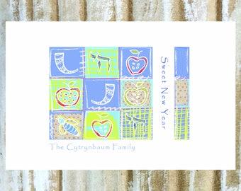 Rosh Hashanah Card Set, Personalized Jewish New Year Card Set.  Set of 12 cards.  Modern, Playful.  Apples, Honey, Shofar, Chai, Bee