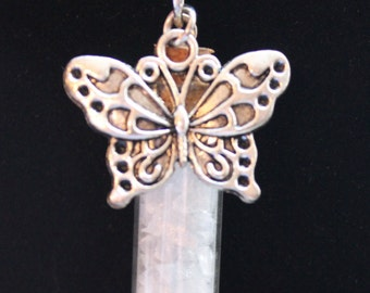 Celestine Butterfly Charm Necklace, Mineral in a Bottle