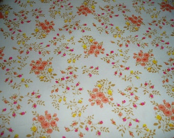 Pretty Pink and Yellow Flowers Heavy Cotton Fabric/Maybe Broadcloth
