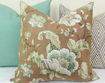 Teal and brown floral decorative throw pillow cover 18x18 20x20 22x22 24x24 26x26 Euro sham Lumbar 12x24 14x24 14x26 16x24 16x26 Spa blue