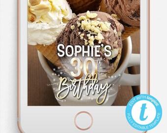 Birthday Snapchat Filter, Birthday Snapchat Geofilter, Editable Snapchat Filter, Templett, 30th Birthday, 30th Birthday Snapchat Filter