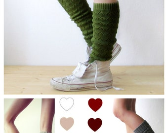 Leg warmers in Green / Boot cuff / Urban clothing / Knit leg warmers / lace legwear / yoga lover / CHOOSE Y