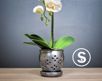 """Hilo 2018 Edition (SMALL 4.5"""") Handmade Ceramic Orchid Pot With Attached Saucer, Orchid Planter, Glazed Pottery 