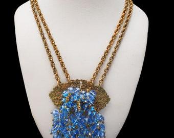 Blue Dangle Crystal statement Necklace Light blue glass  Gold repousse flower Statement Necklace Art Nouveau
