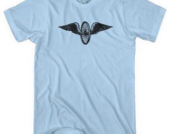 Bicycle Wings T-shirt - Men and Unisex - XS S M L XL 2x 3x 4x - Cyclist Gift Flying Wheel Shirt,Bike Shirt, Bike Messenger,Hipster Shirt