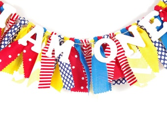 Red, Yellow and Blue Highchair Banner - Birthday Banner - Highchair Banner - Party Decor - Banner - Garland - Photoshoot Prop