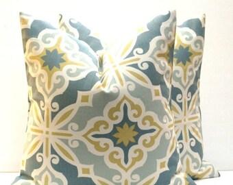 15% Off Sale pillow Decorative Pillows , Euro Sham , Floor Pillow Accent pillow   Gold Pillow Blue Pillow Decorative Pillows 26x26 pillow co