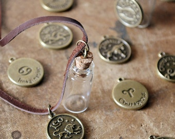 Mens Zodiac Bottle Necklace - Message In A Bottle - Leather - Vial Necklace - Horoscope - Customize This Necklace