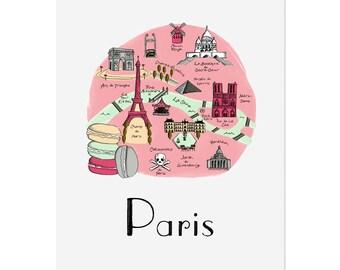 Paris Map / Illustrated Map / Paris Art Print