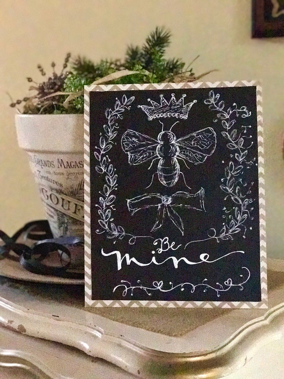 "Custom Calligraphy Chalkboard Paper ""Be Mine"" Art Print / Heavyweight Chalkboard Paper and White Chalk Pen / Frameable"